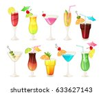 tropical cocktails and juices... | Shutterstock .eps vector #633627143