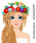 vector curly haired blonde... | Shutterstock .eps vector #633642299