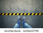 top view of a man stands on... | Shutterstock . vector #633643790