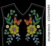 embroidery wild flowers with... | Shutterstock .eps vector #633644684