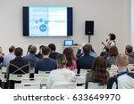 audience listens to the speech... | Shutterstock . vector #633649970