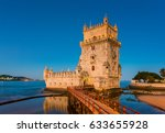 belem tower in lisbon portugal... | Shutterstock . vector #633655928