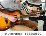 learning to play the guitar.... | Shutterstock . vector #633660530