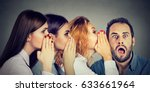 three young women whispering... | Shutterstock . vector #633661964