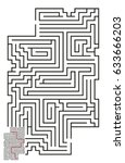 vector maze with answer 58 | Shutterstock .eps vector #633666203