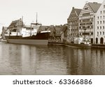 Central Sea Museum in Gdansk at Motlawa river - Poland - stock photo