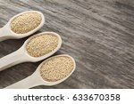 amaranthus seeds on the wooden... | Shutterstock . vector #633670358