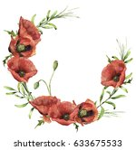 Watercolor Wreath With Poppies...