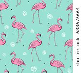 flamingo seamless pattern on... | Shutterstock .eps vector #633676664