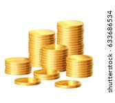 Gold Coins Stack. Vector