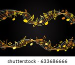 gold music notes on a solide... | Shutterstock .eps vector #633686666