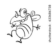 funny dancing cute fly. vector... | Shutterstock .eps vector #633686738