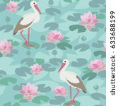 seamless pattern with stork and ... | Shutterstock .eps vector #633688199