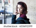 beautiful young girl street... | Shutterstock . vector #633692399