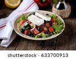 classic greek salad from... | Shutterstock . vector #633700913