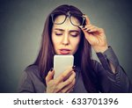 closeup woman with glasses... | Shutterstock . vector #633701396