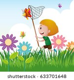 boy chasing insects in garden | Shutterstock .eps vector #633701648