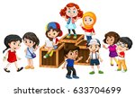 many happy children on the... | Shutterstock .eps vector #633704699