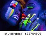 fashion models  in uv neon... | Shutterstock . vector #633704903