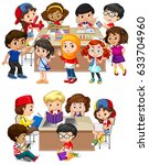 kids learning at school... | Shutterstock .eps vector #633704960
