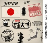 set of grunge stamps with japan ... | Shutterstock .eps vector #633705320