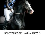 black horse race on a track... | Shutterstock . vector #633710954