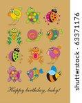 birthday card with baby cartoon ...   Shutterstock .eps vector #63371176