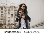 very happy couple having a good ... | Shutterstock . vector #633713978