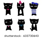 simple  cute black kittens with ... | Shutterstock .eps vector #633730643