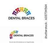 colorful dental braces logo... | Shutterstock .eps vector #633734564