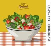 fresh salad nutrition diet... | Shutterstock .eps vector #633743414