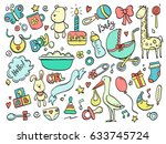 set of hand drawn baby and... | Shutterstock .eps vector #633745724