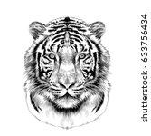 tiger head full face... | Shutterstock .eps vector #633756434