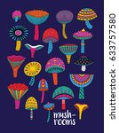 collection of decorative... | Shutterstock .eps vector #633757580