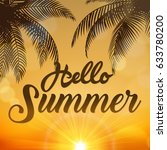 hello summer sign  with coconut ... | Shutterstock .eps vector #633780200