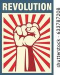 revolution poster  fist hand | Shutterstock .eps vector #633787208