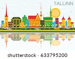 tallinn skyline with color... | Shutterstock . vector #633795200