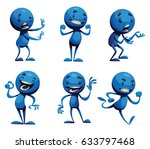 vector set of six cartoon... | Shutterstock .eps vector #633797468
