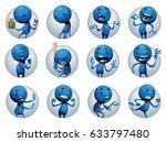 vector set of twelve round... | Shutterstock .eps vector #633797480