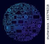 gadget line icon concept circle....   Shutterstock .eps vector #633798218