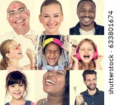 collage of people smiling... | Shutterstock . vector #633801674