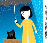 woman and black cat in the rain | Shutterstock .eps vector #633803924