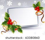Vector illustration -Christmas frame with holly - stock vector