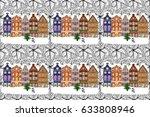 background. winter village... | Shutterstock . vector #633808946