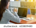 young businesswoman is drinking ... | Shutterstock . vector #633809480