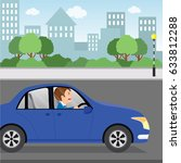 man driving to work. vector... | Shutterstock .eps vector #633812288