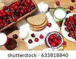 red ripe cherry country still... | Shutterstock . vector #633818840