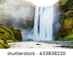 famous skogafoss waterfall in... | Shutterstock . vector #633838220
