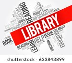 library word cloud collage ... | Shutterstock . vector #633843899