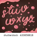 pink cream on chocolate wafer... | Shutterstock .eps vector #633858818